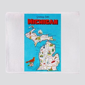 Michigan Map Greetings Throw Blanket